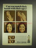 1975 Ivory Liquid Dishwashing Soap Ad - Hands With Ages