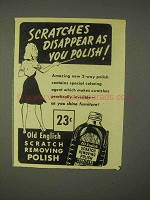 1943 Old English Scratch Removing Polish Ad - Scratches Disappear