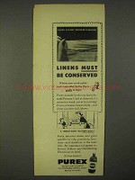 1943 Purex Bleach Ad - Linens Must be Conserved