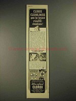 1941 Clorox Bleach Ad - Beyond Visible Cleanliness