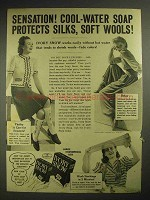 1940 Ivory Snow Detergent Ad - Protects Silks, Wools