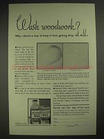 1931 Johnson's Wax Ad - Wash Woodwork?
