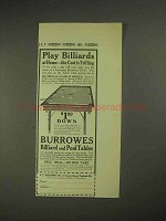 1913 Burrowes Billiard and Pool Tables Ad - Play