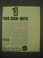 1913 Three-in-one Oil Ad - This Sign Boys