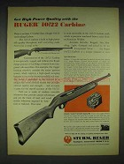 1970 Ruger 10/22 Carbine Rifle Ad - High Power Quality