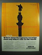1980 Spain Tourism Ad - More Europeans Vacation