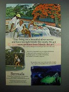 1976 Bermuda Tourism Ad - Tea Right Beside The Courts
