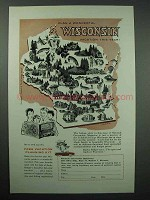 1957 Wisconsin Tourism Ad - Plan a Wonderful Vacation
