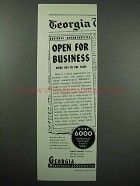 1954 Georgia Commerce Ad - Open for Business