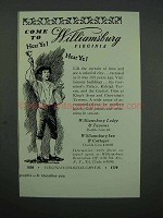 1953 Williamsburg Virginia Tourism Ad - Come To