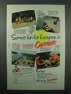 1952 Ontario Canada Tourism Ad - Summer Fun