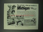 1951 Michigan Tourism Ad - You Can't Miss