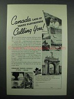 1937 Canada Tourism Ad - Land of Varied Playgrounds