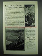 1929 Southern California Tourism Ad - Mount Whitney