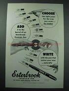 1953 Esterbrook Fountain Pen Ad - Choose Right Point