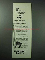 1929 Eberhard Faber Pencil Ad - Does Nickel Perform?