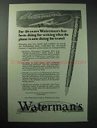 1929 Waterman Fountain Pen Ad - What Plane is Doing