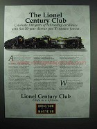 1996 Lionel Century Club Ad - Five 50-year Classics
