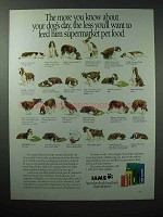 1989 Iams Dog Food Ad - Know About Your Dog's Day