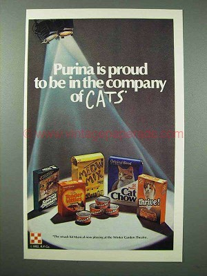 1982 Purina Cat Food Ad Meow Mix Tender Vittles