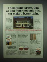 1990 Thompson's Water Seal Stain Ad - Oil and Water Mix
