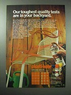 1979 Plasti-Kote Paint Ad - Our Toughest Quality Tests