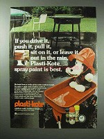 1978 Plasti-Kote Paint Ad - Leave it Out in the Rain