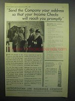 1933 Metropolitan Life Insurance Ad - Income Checks