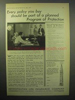 1933 Metropolitan Life Insurance Ad - Protection