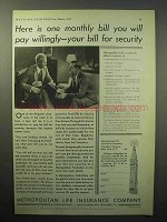 1933 Metropolitan Life Insurance Ad - Bill for Security