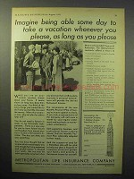 1933 Metropolitan Life Insurance Ad - Take Vacation
