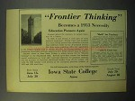 1933 Iowa State College Ad - Frontier Thinking