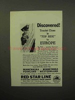 1933 Red Star Line Cruise Ad - Discovered Top Side