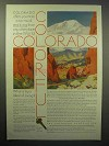 1930 Colorado Tourism Ad - Pikes Peak, Garden of Gods