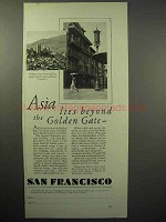 1930 San Francisco Tourism Ad - Asia Lies Beyond