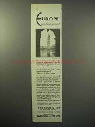1930 Thos. Cook & Son Cruise Ad - Europe