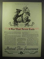 1930 Mutual Fire Insurance Ad - A War That Never Ends