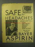 1930 Bayer Aspirin Ad - Safe for Headaches
