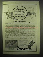 1929 Tacoma Chamber of Commerce Ad - Lowest Power