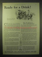 1929 Metropolitan Life Insurance Ad - Ready for a Drink