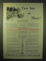 1929 Metropolitan Life Insurance Ad - Two Sets or Three