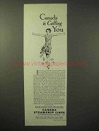 1929 Canada Steamship Lines Cruise Ad - Calling You