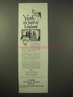 1929 London and North Eastern Railway Ad - York