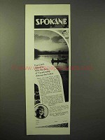 1929 Spokane Washington Tourism Ad - Among the Lakes