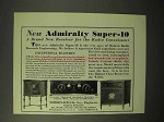 1929 Admiralty Super-10 Radio Ad - For the Connoisseur