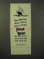 1929 Poland Water Ad - Worlds Best Ships Carried