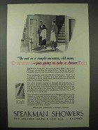 1925 Speakman Showers Ad - Be Out in Couple of Minutes