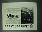 1925 Great Northern Railway Ad - Glacier National Park