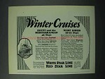1925 White Star Line, Red Star Line Cruise Ad - Winter
