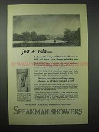 1923 Speakman Showers Ad - Just As Rain